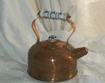 Vintage 1960s Retro Copper Tea Kettle with Porcelain Handle and Knob Really Cute Great Cond