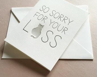 Letterpress Sympathy card - Cat Sympathy