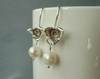 Christmas in July Briar rose sterling silver earrings,  8mm white freshwater pearl. June birthstone.