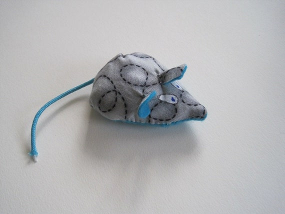 Mouse Cat Toy - Blue Felt - Unique Mice Filled with Organic Catnip