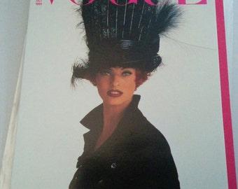 Vogue greeting card Philip Treacy hat Linda Evangelista fashion model