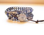 Denim Triple Wrap Large Gemstone and Brown Leather Bracelet - Faceted Sodalite Gemstones