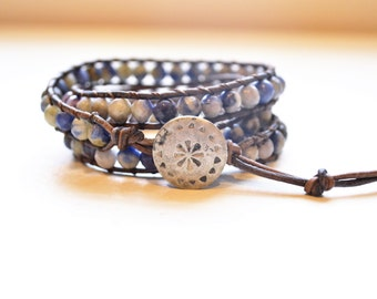 Denim Triple Wrap Large Gemstone and Brown Leather Bracelet - Faceted Sodalite Gemstones