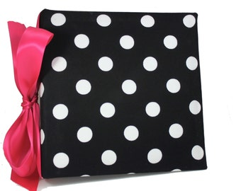 Recipe Organizer-Black and White Polka dot , or your choice of Trim color Album,  With  Custom Recipe cards and File tabs
