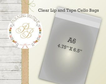 "100 A6 Clear resealable cello bags - 4.75"" X 6.5"" "" lip and tape "" envelope"