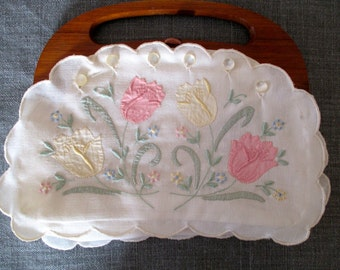 Vintage Hand Made Madeira Linen Clutch Purse from Portugal
