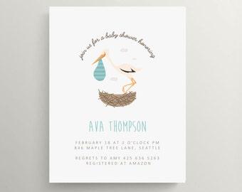 stork and nest baby shower invitation set // thank you note // delivery stork // stork baby shower // baby announcement // gender neutral