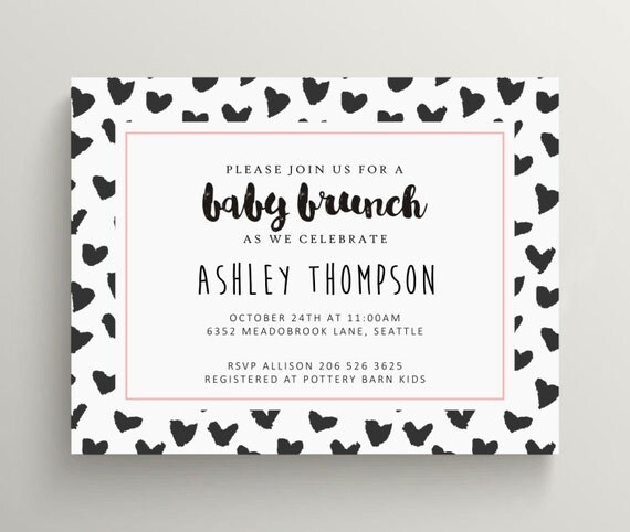 black and white baby shower invitation set // brunch // modern // sip and see // new baby // gender neutral // invite // bold // pattern
