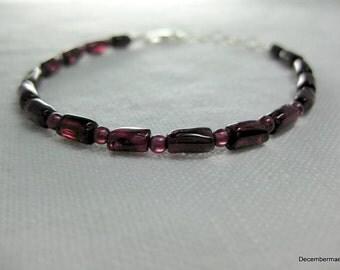 Garnet Bracelet in Sterling Silver