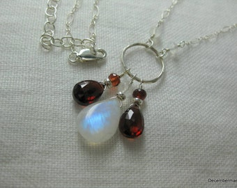 Rainbow Moonstone and Garnet Necklace in Sterling Silver