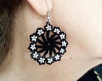Crochet Earrings, Halloween Earrings, Black White Earrings, Flower Earrings, Bead Work Earrings, Crochet Jewelry