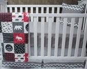 Baby Boy  Nursery Bedding , Crib Set , Woodland , Moose  , Adventure , Arrow , Buck Forest , Baby Bedding , Crib Bedding