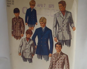 Vintage 1960s Mens Jacket Simplicity Sewing Pattern Size 36