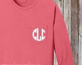 Monogrammed Pocket Tee | Personalized Long Sleeve Shirt