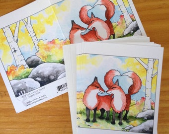 6 blank cards - Red Foxes