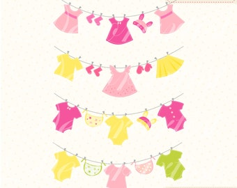 ON SALE baby clothes hanging clipart, Baby girl ClipArt , pink baby Clothes Line clipart, INSTANT Download
