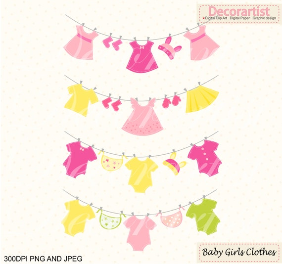ON SALE baby clothes hanging clipart, Baby girl ClipArt , pink ...