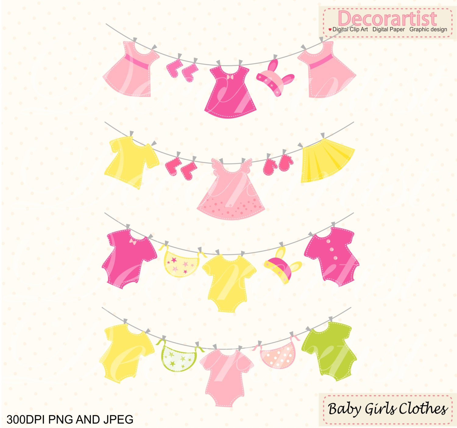 ON SALE baby clothes hanging clipart Baby girl ClipArt
