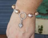 Sacred Flaming Heart Charm Bracelet with Kasumi-like Pearls