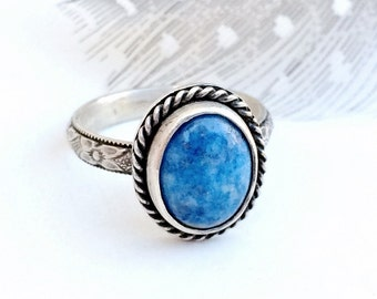 Denim Lapis Ring, Blue Stone, Sterling Silver Gemstone Ring, Southwestern Jewelry for Women