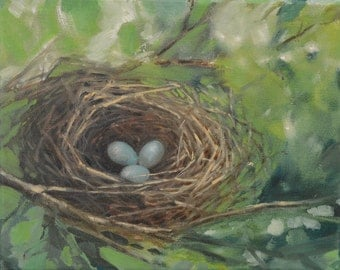 "Robin's Nest Painting, Original Oil on Canvas, 8""x 10"""