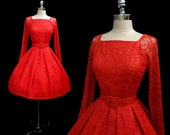 Vintage 1950s Red Lace Sheer Sleeves Belted Full Skirt Cocktail Party Dress XS