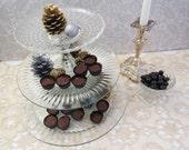 "Large 3-Tier Dessert Stand made with Vintage Pressed Glass, 13"" Base Platter, Wonderful Wedding Gift"