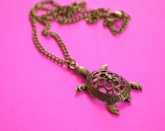 Turtle Antique Bronze Necklace Steampunk Tortoise (AB20)
