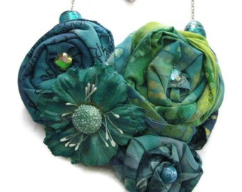 Emerald Turquoise Floral Bib Necklace