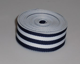 5 Yards 7/8 inch Navy and White Stripes Ribbon