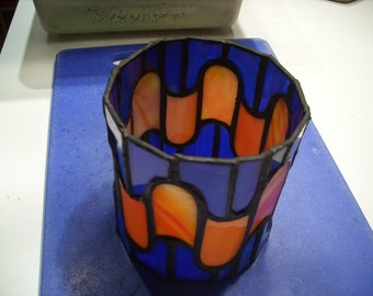 Round Orange/Blue Candle Holder