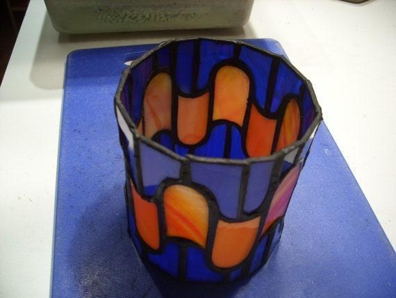 Round Orange/Blue Candle Holder