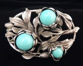 Vintage Turquoise Bead and Silver Floral Brooch