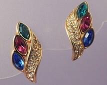 Vintage SWAROVSKI Earrings / Swarovski Multi Color Earrings / Swarovski Crystal Earrings /Swarovski Rhinestone Earrings / Swarovski Jewelry