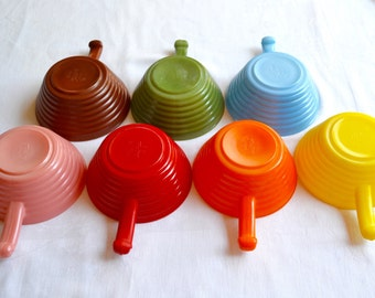Vintage Fire King Long Handled Soup Bowls - Multi Colored Set of 7