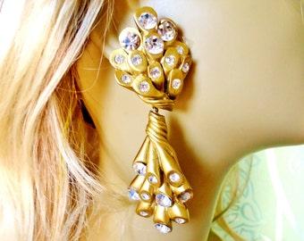 Vintage Jewellian Haute Couture Designer Earrings Christmas Bride Huge Rhinestones Rare  Retro Gold Clips Art Deco Bridal  Runway Statement