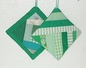 POTHOLDERS (#1) Green Quilt Patterns Traditional Design, US,