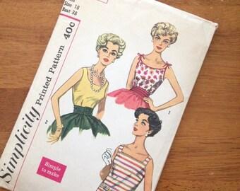 "1960's blouse shirt sewing pattern 3021 simplicity bust 38"" size 18 UNCUT"