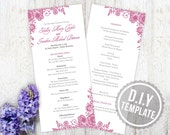 DIY Custom Wedding Program for Vintage Wedding Ceremony - Vintage Antique Lace Program Customized Printable PDF