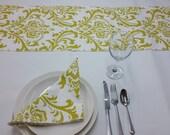 """Tablerunner 72 x 13"""" citrine artist green and white damask 631"""