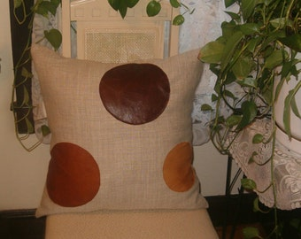 """Oatmeal linen pillow with genuine leather trim, 20"""" square"""