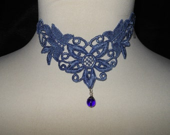 Necklace in Powder Blue Unique Varagated Glass Drop Venise Lace Choker NEW by Medievaltomodern Wearable Art Runway Style