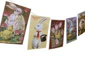 Vintage Easter Banner - Easter Garland - vintage Easter postcards - photo reproductions on felt