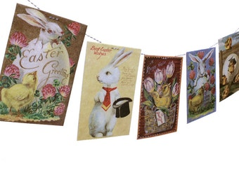 Vintage Easter Banner - Easter Garland - vintage Easter postcards - photo reproductions on felt