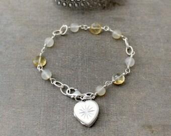 Citrine Bracelet, Sterling Silver Locket Bracelet, November Birthstone Bracelet, Silver Heart Locket Small Heart Locket, Push Gift for Her