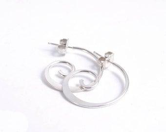 Sterling Silver Earrings Hoop Modern Metal Handmade Jewelry Gifts Under 35