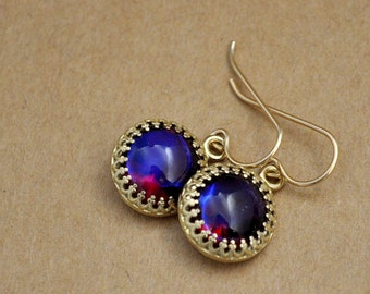 vintage West Germany 50s Alexandrite glass cab earrings gold filled, deep wine violet, ruby red hue, purple and red