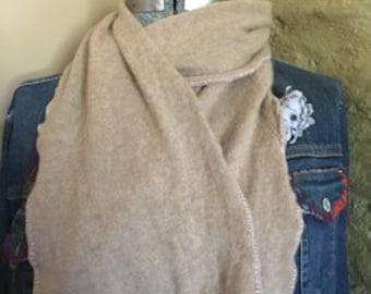 Natural tan cashmere scarf