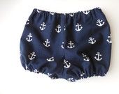 Boys or girls Infant baby diaper cover bloomers nautical navy blue with white anchors