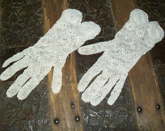 Vintage Hand-Crocheted Cotton Lace Gloves - Extra Small Woman's or Girl's Size - Wedding